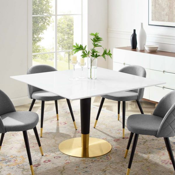 """Zinque 47"""" Square Dining Table in Gold White"""