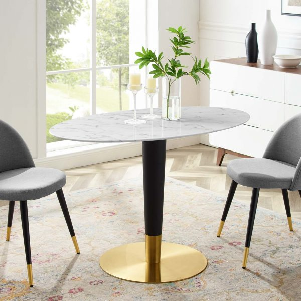"Zinque 48"" Oval Artificial Marble Dining Table in Gold White"