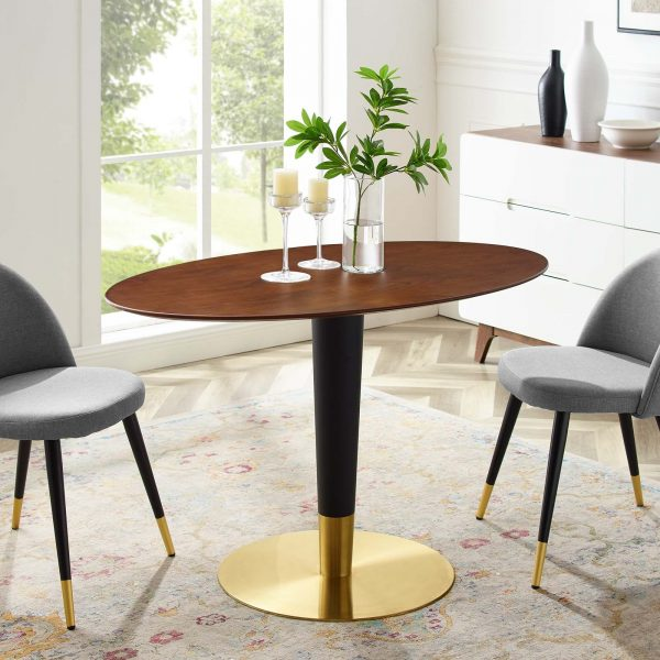 """Zinque 48"""" Oval Dining Table in Gold Walnut"""