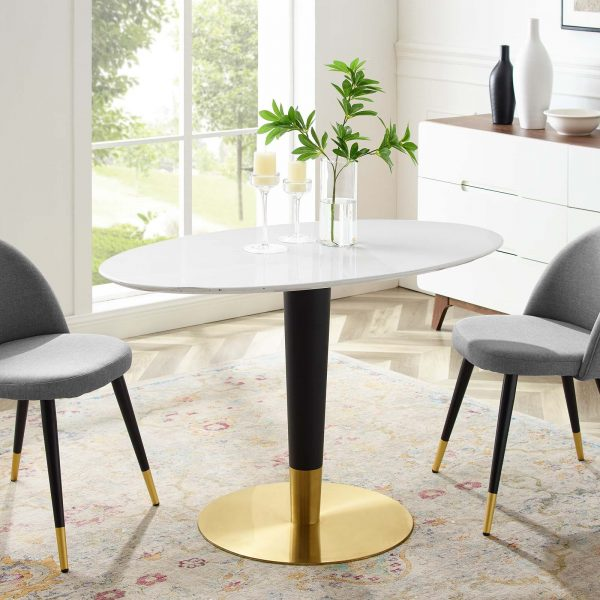 "Zinque 48"" Oval Dining Table in Gold White"